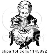 Clipart Of A Retro Vintage Black And White Girl Reading A Story Royalty Free Vector Illustration