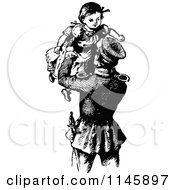 Clipart Of A Retro Vintage Black And White Father Lifting His Daughter Up Royalty Free Vector Illustration