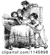 Clipart Of A Retro Vintage Black And White Group Of Children Reading Royalty Free Vector Illustration