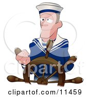 Sailor Man Steering The Wheel Of A Ship