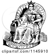 Clipart Of A Retro Vintage Black And White Princess In A Chair Royalty Free Vector Illustration by Prawny Vintage
