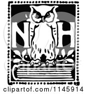 Clipart Of A Retro Vintage Black And White NH Owl On A Book Royalty Free Vector Illustration by Prawny Vintage