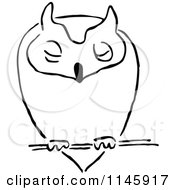 Clipart Of A Black And White Owl Resting Royalty Free Vector Illustration by Prawny Vintage
