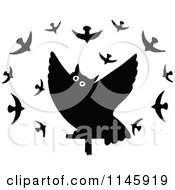 Clipart Of A Black And White Owl Surrounded By Birds Royalty Free Vector Illustration by Prawny Vintage