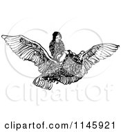 Clipart Of A Retro Vintage Black And White Boy Flying On An Owl Royalty Free Vector Illustration by Prawny Vintage