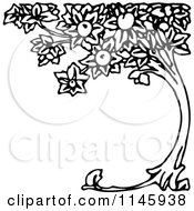 Clipart Of A Retro Vintage Black And White Curved Peach Tree Royalty Free Vector Illustration by Prawny Vintage