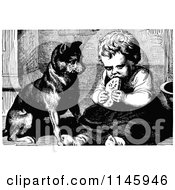 Clipart Of A Retro Vintage Black And White Dog Watching A Girl Eat Royalty Free Vector Illustration by Prawny Vintage