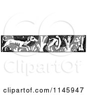 Clipart Of A Retro Vintage Black And White Dog And Tree Border Royalty Free Vector Illustration