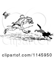 Clipart Of A Retro Vintage Black And White Dog Gentleman Chasing A Cat Royalty Free Vector Illustration