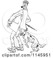 Clipart Of A Retro Vintage Black And White Dog Attacking A Man Royalty Free Vector Illustration