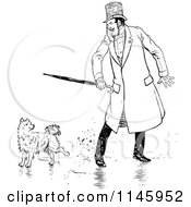 Clipart Of A Retro Vintage Black And White Dog Annoying A Man Royalty Free Vector Illustration