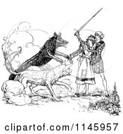 Clipart Of A Retro Vintage Black And White Man Protecting A Woman From Wild Dogs Royalty Free Vector Illustration by Prawny Vintage