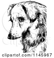 Clipart Of A Retro Vintage Black And White Sad Dog Face Royalty Free Vector Illustration