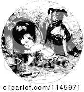 Clipart Of A Retro Vintage Black And White Dog Supervising A Crawling Baby Royalty Free Vector Illustration by Prawny Vintage