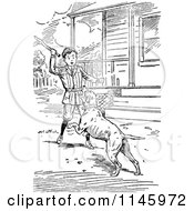 Clipart Of A Retro Vintage Black And White Boy Playing Fetch With A Dog Royalty Free Vector Illustration