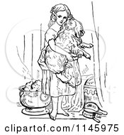 Clipart Of A Retro Vintage Black And White Girl Bathing A Dog Royalty Free Vector Illustration