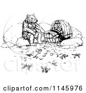 Clipart Of A Retro Vintage Black And White Dad And Baby Bear In A Cradle Royalty Free Vector Illustration