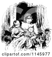 Clipart Of A Retro Vintage Black And White Boy And Girl Admiring A Baby Royalty Free Vector Illustration