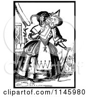 Clipart Of A Retro Vintage Black And White Old Lady With A Cat On Her Shoulders Royalty Free Vector Illustration