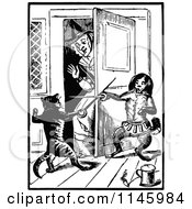 Clipart Of A Retro Vintage Black And White Old Lady With Fencing Cats Royalty Free Vector Illustration by Prawny Vintage