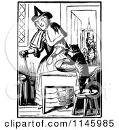 Clipart Of A Retro Vintage Black And White Old Lady With A Cat Making A Pie Royalty Free Vector Illustration by Prawny Vintage