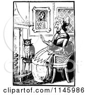 Clipart Of A Retro Vintage Black And White Old Lady With A Cat By A Fireplace Royalty Free Vector Illustration