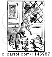 Clipart Of A Retro Vintage Black And White Old Lady Watching Her Fiddle Cat And Dancing Mice Royalty Free Vector Illustration