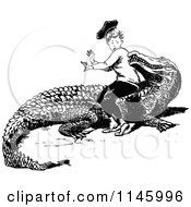 Clipart Of A Retro Vintage Black And White Boy Sitting On A Crocodile Royalty Free Vector Illustration by Prawny Vintage