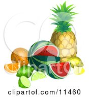 Still Life Of Tropical Fruits Pineapple Watermelon Lemon Lime Orange Clipart Illustration