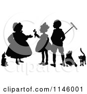 Clipart Of A Retro Vintage Silhouetted Farmers With A Rabbit Chicken And Cat Royalty Free Vector Illustration by Prawny Vintage