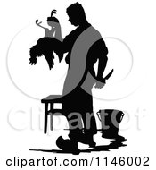 Clipart Of A Retro Vintage Silhouetted Farmer Butchering A Chicken Royalty Free Vector Illustration