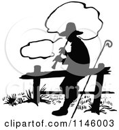 Clipart Of A Retro Vintage Silhouetted Shepherd Playing A Flute Royalty Free Vector Illustration by Prawny Vintage