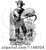 Clipart Of A Retro Vintage Black And White Farmer Harvesting Royalty Free Vector Illustration by Prawny Vintage