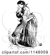 Clipart Of A Retro Vintage Black And White Mother And Daughter Hugging Royalty Free Vector Illustration by Prawny Vintage