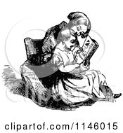 Clipart Of A Retro Vintage Black And White Mother And Child Reading Royalty Free Vector Illustration