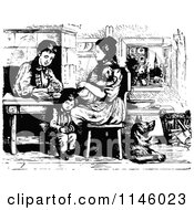 Clipart Of A Retro Vintage Black And White Family Reading The Bible Royalty Free Vector Illustration
