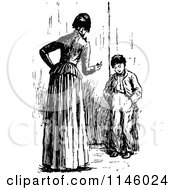 Clipart Of A Retro Vintage Black And White Mother Lecturing Her Son Royalty Free Vector Illustration