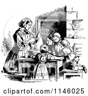 Clipart Of Retro Vintage Black And White Children Baking With Their Mom Royalty Free Vector Illustration by Prawny Vintage