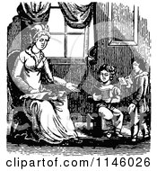 Clipart Of A Retro Vintage Black And White Mother Teaching Her Children To Read Royalty Free Vector Illustration