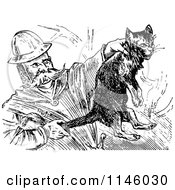 Clipart Of A Retro Vintage Black And White Fireman Saving A Cat Royalty Free Vector Illustration