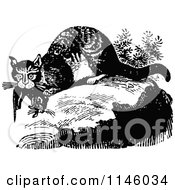 Clipart Of A Retro Vintage Black And White Wild Cat With Prey Royalty Free Vector Illustration
