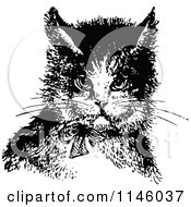 Clipart Of A Retro Vintage Black And White Cat Wearing A Bow Royalty Free Vector Illustration by Prawny Vintage