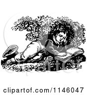 Clipart Of A Retro Vintage Black And White Boy Reading On The Ground Royalty Free Vector Illustration