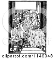 Clipart Of A Retro Vintage Black And White Girl Reading To A Group Of Kids Royalty Free Vector Illustration