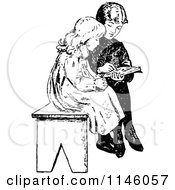 Clipart Of Retro Vintage Black And White Children Reading On A Bench Royalty Free Vector Illustration