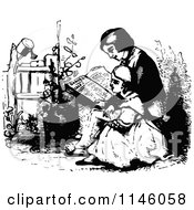 Clipart Of Retro Vintage Black And White Children Reading A Bible Royalty Free Vector Illustration