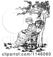 Clipart Of A Retro Vintage Black And White Girl Reading Under A Tree Royalty Free Vector Illustration