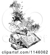 Clipart Of A Retro Vintage Black And White Pile Of Books And Scenes Royalty Free Vector Illustration by Prawny Vintage
