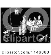 Clipart Of A Retro Vintage Black And White Woman Cleaning As Her Husband Reads Royalty Free Vector Illustration by Prawny Vintage
