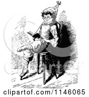 Clipart Of A Retro Vintage Black And White Boy Sitting And Reading Royalty Free Vector Illustration